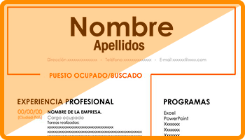 modelo curriculum basico naranja destacado